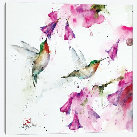 Hummingbirds And Floral Canvas Print #DCR166} by Dean Crouser Canvas Art Print