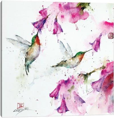 Hummingbirds And Floral Canvas Art Print