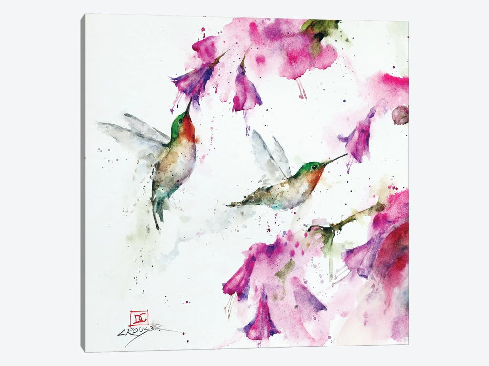 Hummingbirds And Floral by Dean Crouser 1-piece Canvas Art Print