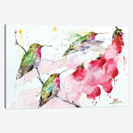 Hummingbirds And Flowers 3-Piece Canvas #DCR167} by Dean Crouser Art Print