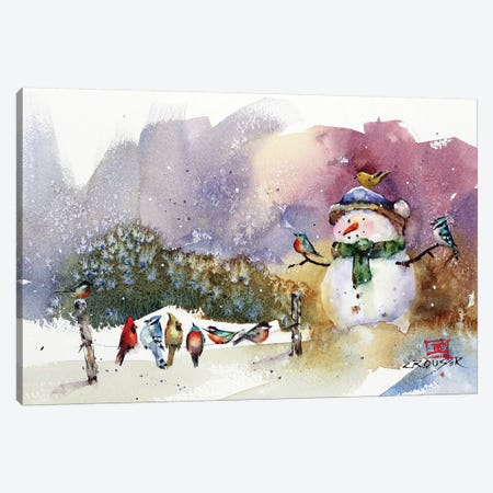 Snowman And Songbirds Canvas Print #DCR178} by Dean Crouser Canvas Print