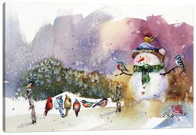 Snowman And Songbirds Canvas Art Print