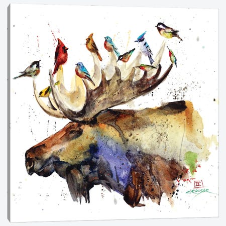 Moose and Birds Canvas Print #DCR183} by Dean Crouser Canvas Artwork