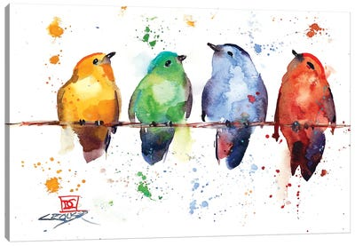Primary Birds Canvas Art Print