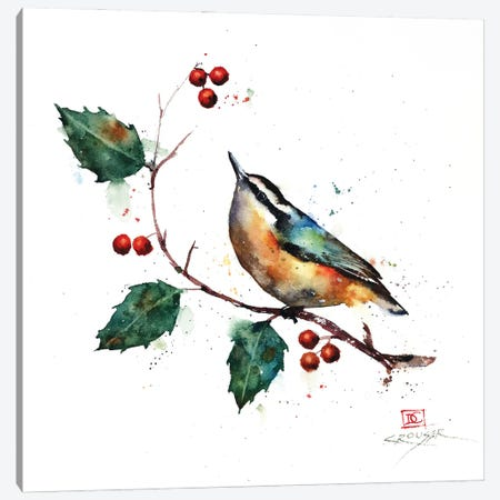 Nuthatch and Holly Canvas Print #DCR193} by Dean Crouser Art Print