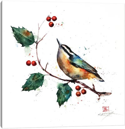 Nuthatch and Holly Canvas Art Print