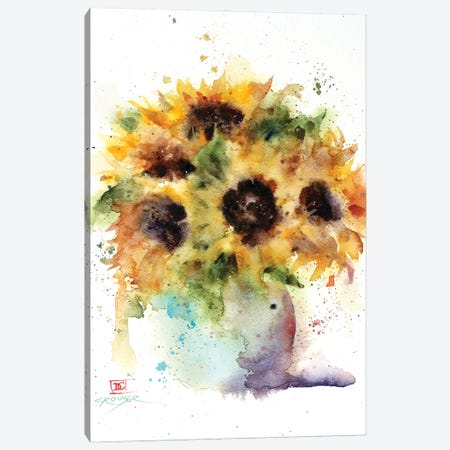 Sunflower Vase Canvas Print #DCR195} by Dean Crouser Canvas Art