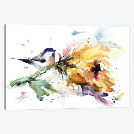 Chickadee and Sunflower Canvas Print #DCR207} by Dean Crouser Canvas Art
