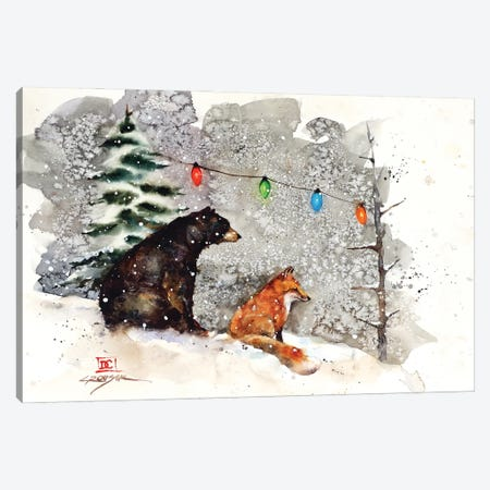 Fox, Bear And Lights Canvas Print #DCR214} by Dean Crouser Art Print