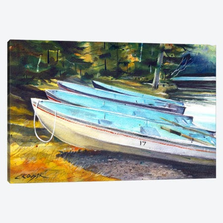 Boats On The Shore Canvas Print #DCR45} by Dean Crouser Canvas Art