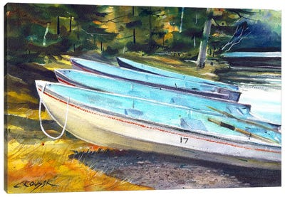 Boats On The Shore Canvas Art Print