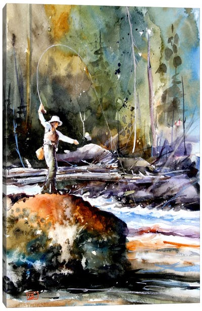 Fishing in the Wild Canvas Art Print