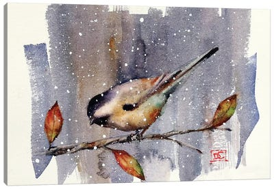 Chickadee Snow Canvas Art Print