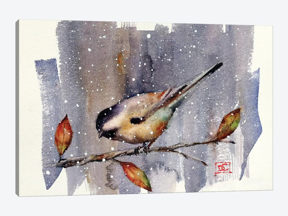 Chickadee Snow by Dean Crouser 1-piece Canvas Artwork