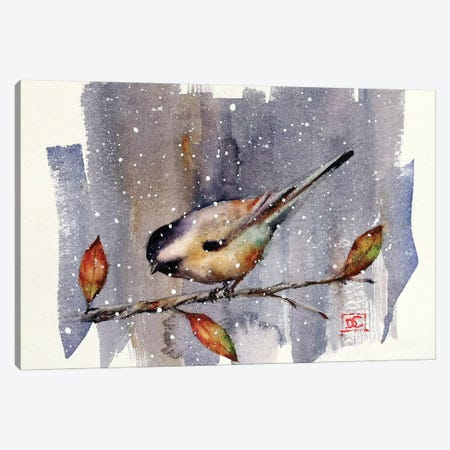 Chickadee Snow Canvas Print #DCR89} by Dean Crouser Art Print