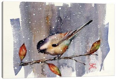 Chickadee Snow Canvas Art Print