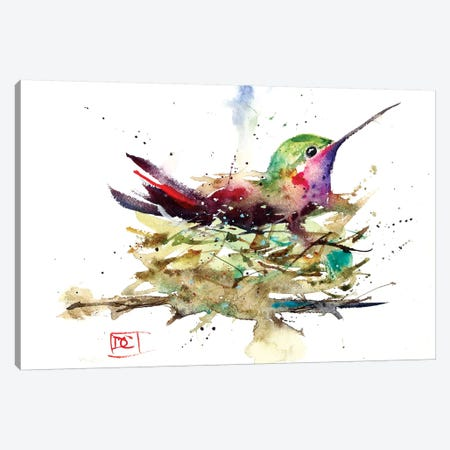 Hummer In Nest Canvas Print #DCR97} by Dean Crouser Art Print