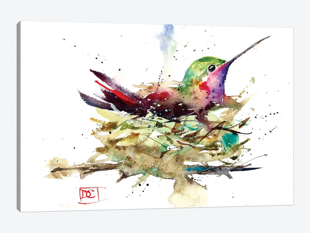 Hummer In Nest by Dean Crouser 1-piece Canvas Print