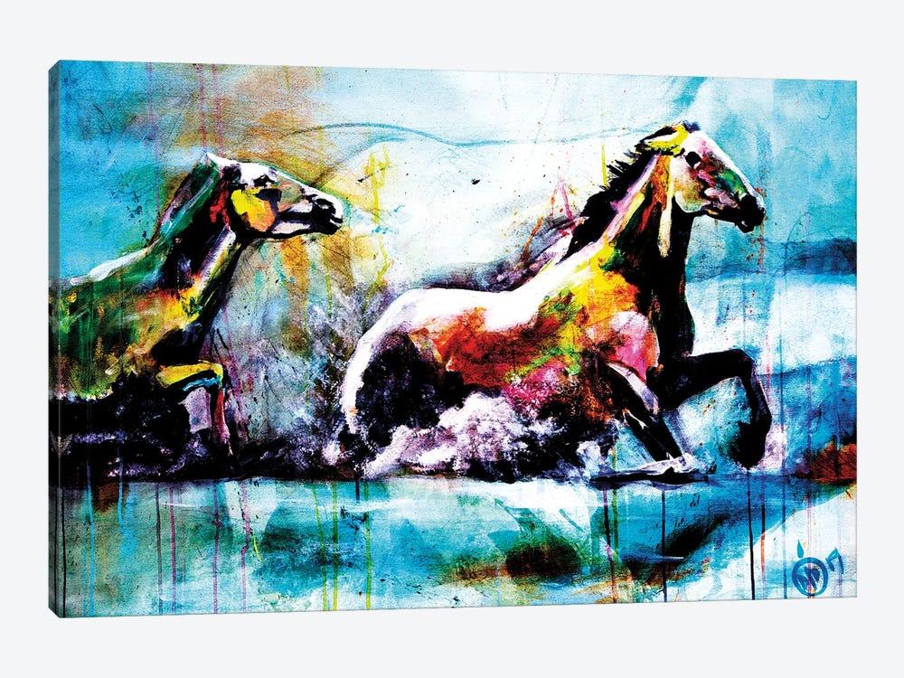 Chevaux III by Didier Chastan 1-piece Canvas Art