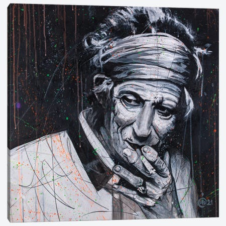 Keith Richards Canvas Print #DCS71} by Didier Chastan Canvas Print