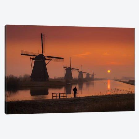 Sunset Windmill Canvas Print #DDJ23} by Dick van Duijn Canvas Wall Art