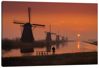 Sunset Windmill Canvas Art Print
