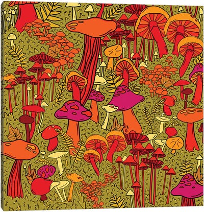 Mushrooms In The Forest Canvas Art Print
