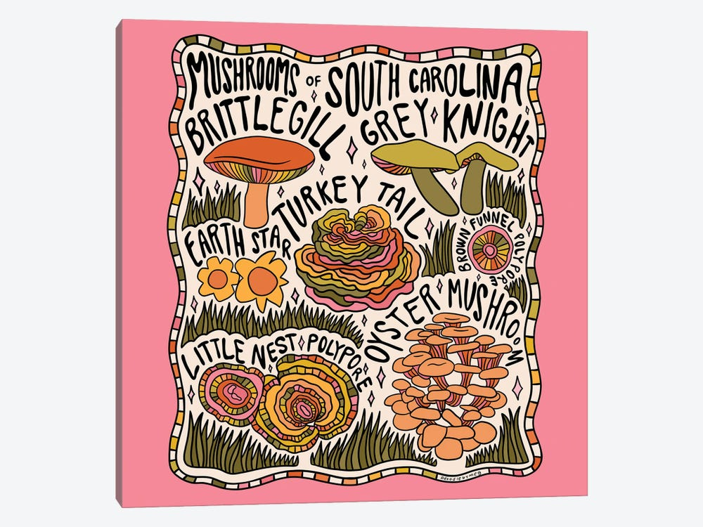 Mushrooms Of South Carolina by Doodle By Meg 1-piece Canvas Art Print