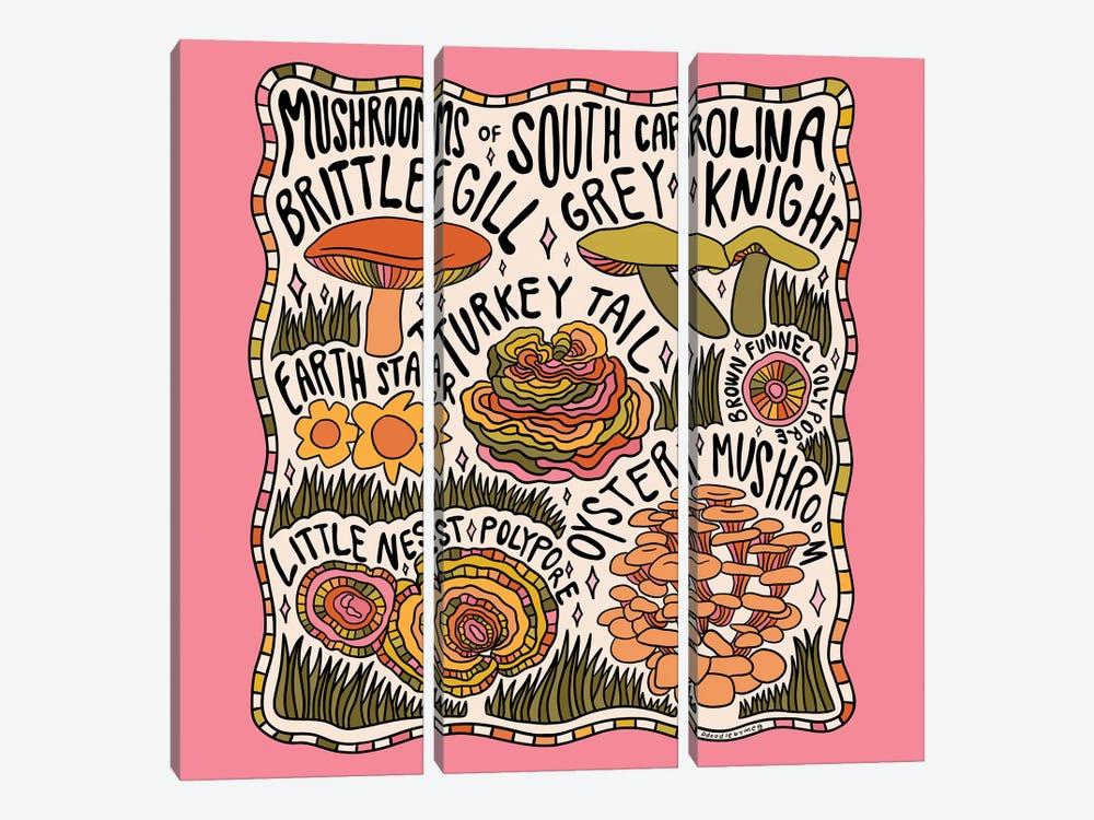 Mushrooms Of South Carolina by Doodle By Meg 3-piece Canvas Art Print
