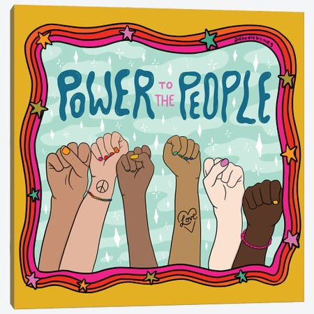 Power To The People Canvas Print #DDM122} by Doodle By Meg Canvas Print