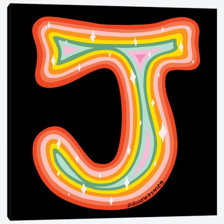 Rainbow J Canvas Print #DDM132} by Doodle By Meg Canvas Artwork