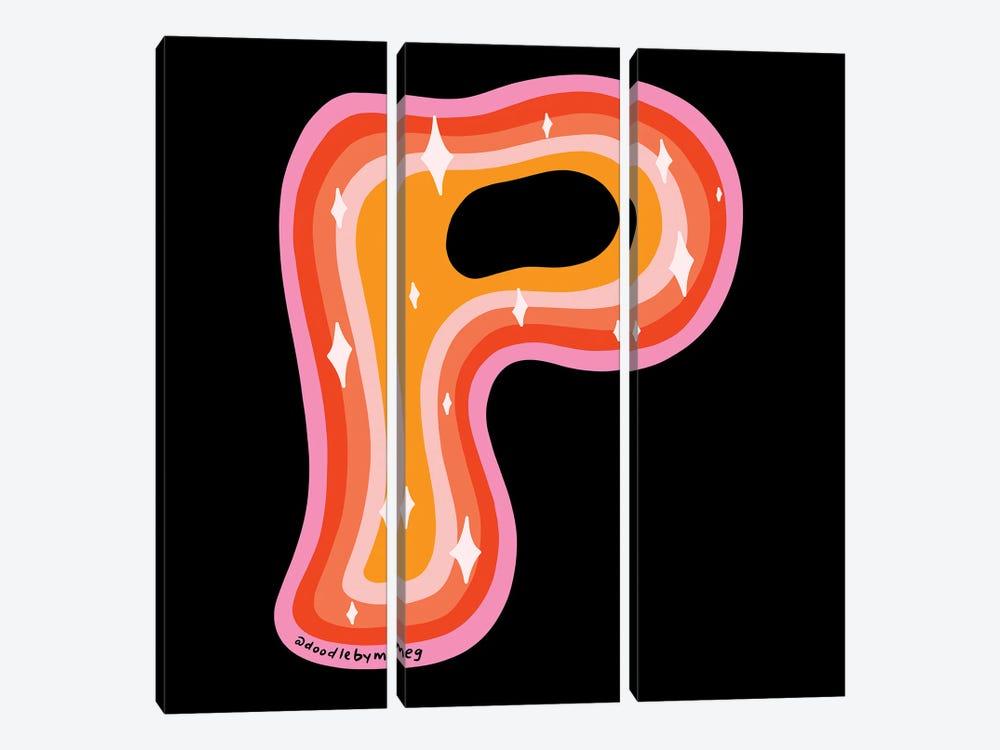 Rainbow P by Doodle By Meg 3-piece Canvas Art Print