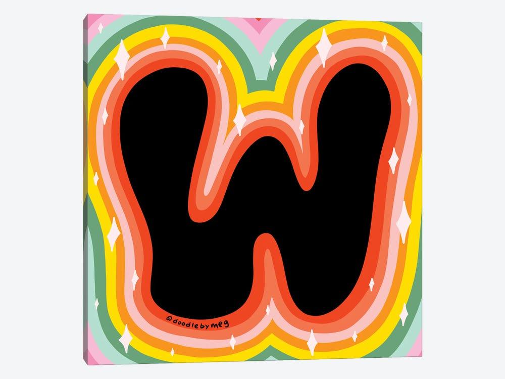 Rainbow W by Doodle By Meg 1-piece Canvas Print
