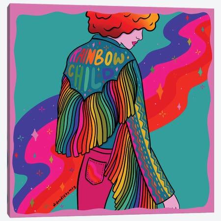 Rainbow Child Canvas Print #DDM149} by Doodle By Meg Canvas Art Print
