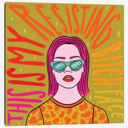 Resisting Bitch Face Canvas Print #DDM152} by Doodle By Meg Canvas Art