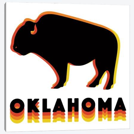 Retro Oklahoma Buffalo Canvas Print #DDM153} by Doodle By Meg Canvas Art