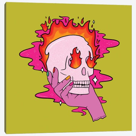 Skull On Fire Canvas Print #DDM162} by Doodle By Meg Canvas Print