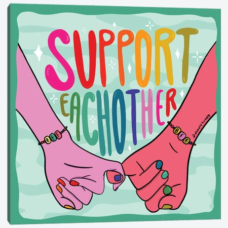 Support Each Other Canvas Print #DDM175} by Doodle By Meg Canvas Print