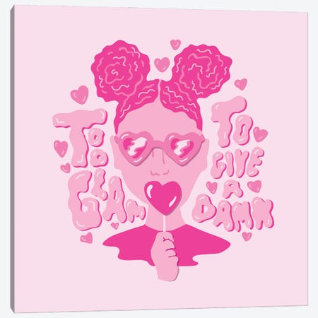 Too Glam To Give A Damn Canvas Print #DDM184} by Doodle By Meg Canvas Wall Art
