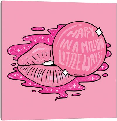 Bubble Gum Lips Canvas Art Print