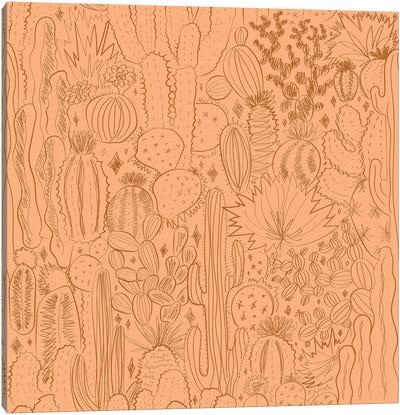 Cactus Scene In Orange Canvas Art Print