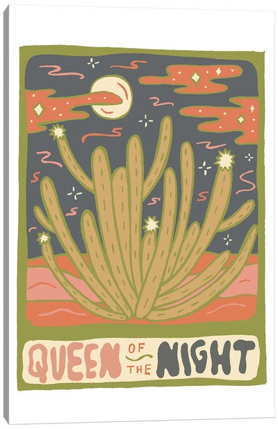 Cactus Tarot Cards- Queen Of The Night Canvas Art Print