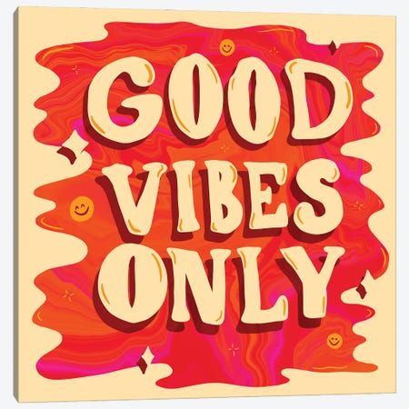 Good Vibes Only Canvas Print #DDM65} by Doodle By Meg Canvas Wall Art