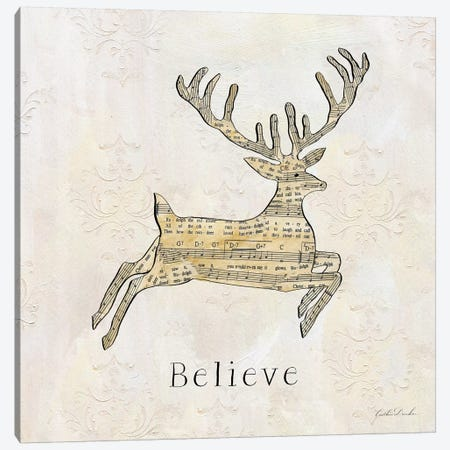 Vintage Christmas Believe Canvas Print #DDN2} by Caitlin Dundon Canvas Wall Art