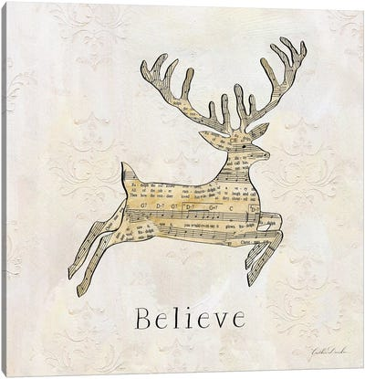 Vintage Christmas Believe Canvas Art Print