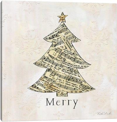 Vintage Christmas Merry Canvas Art Print