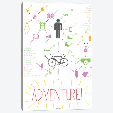 Bike Ride Adventure Guy Canvas Print #DDW23} by DAU-DAW Art Print