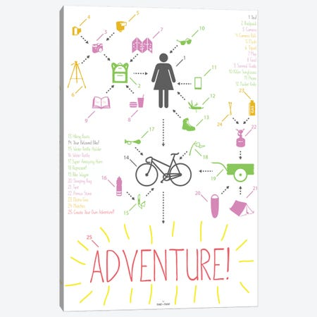 Bike Ride Adventure Woman Canvas Print #DDW24} by DAU-DAW Canvas Artwork