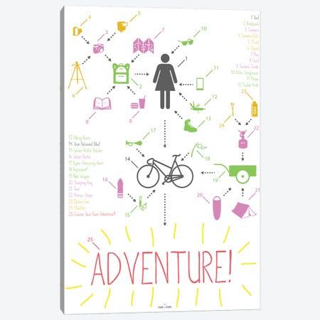 Bike Ride Adventure Woman Canvas Print #DDW24} by DAU-DAW Canvas Artwork