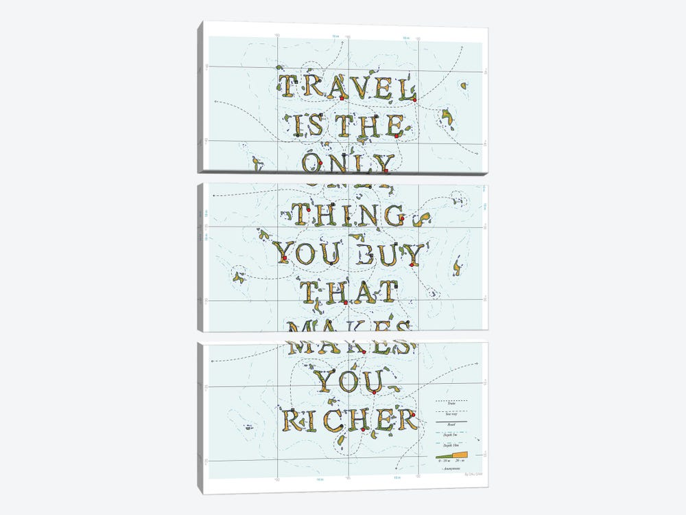 Travel Is The Only Thing You Buy That Makes You Richer by DAU-DAW 3-piece Art Print